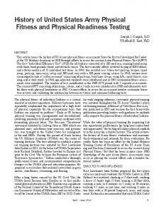 History of United States Army Physical Fitness and Physical ...