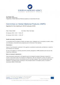 HMPC agenda of the 29-30 January 2018 meeting - European ...