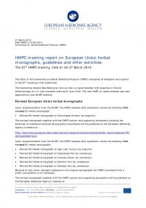 HMPC meeting report on European Union herbal monographs ...