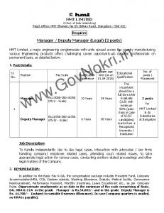 HMT Machine Tools Recruitment 2018 for Manager-Deputy Manager ...