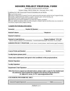 honors project proposal form -