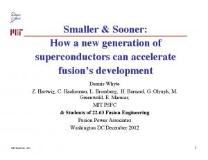 How a new generation of superconductors can accelerate ... - FIRE pppl