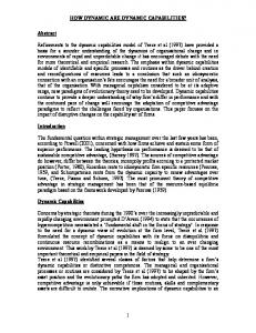 HOW DYNAMIC ARE DYNAMIC CAPABILITIES? 1 Abstract ...
