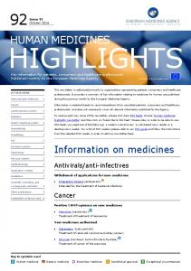Human Medicines Highlights Newsletter - European Medicines Agency