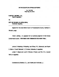Hunter Landing, LLC v. City of Council Bluffs - inversecondemnation ...
