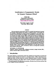 Identification in Nonparametric Models for Dynamic ...