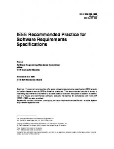 IEEE Recommended Practice for Software Requirements Specifications