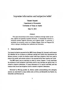 Imprecise information and subjective belief