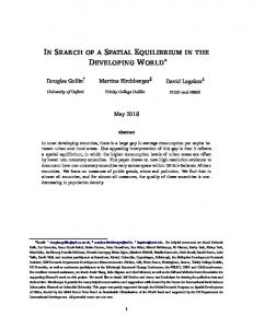 In Search of a Spatial Equilibrium in the Developing ...