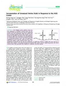 Incorporation of Unnatural Amino Acids in Response to the ... - GitHub