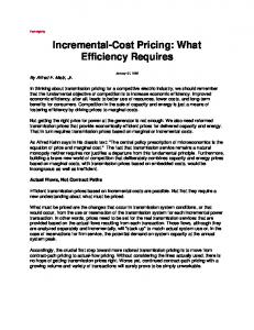 Incremental-Cost Pricing: What Efficiency Requires