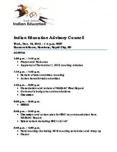 Indian Education Advisory Council - SD Indian Education