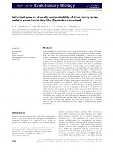 Individual genetic diversity and probability of ... - Wiley Online Library