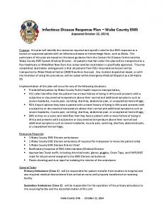 Infectious Disease Response Plan - Wake County Government