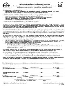Information About Brokerage Services (TREC IABS 1-0) - Buying.pdf ...