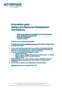 Information pack Design and Resource Development Consultancy