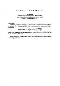 Integral estimates for the family of B-Operators ...