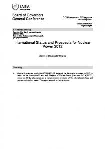 International Status and Prospects for Nuclear Power 2012, 15 August ...