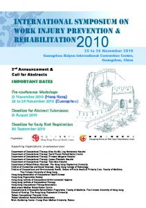 international symposium on work injury prevention & rehabilitation