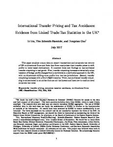 International Transfer Pricing and Tax Avoidance - National Tax ...