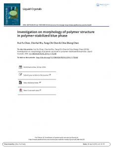 Investigation on morphology of polymer structure in ...