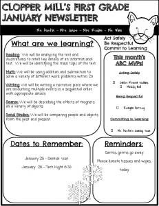 January 1st Grade Monthly Newsletter.pdf