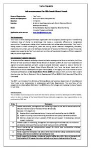 Job Announcement for the position of Team Leader ... -