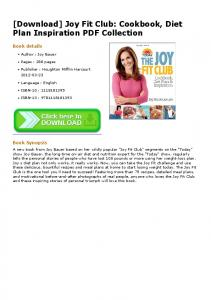 Joy Fit Club: Cookbook, Diet Plan Inspiration PDF ...