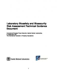 Laboratory Biosafety and Biosecurity Risk Assessment Technical ...