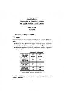 Land Reform: Summaries of Pertinent Articles On South ...