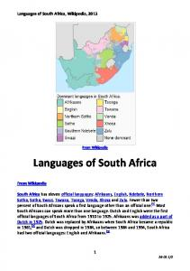 Languages of South Africa, Wikipedia, 2013