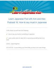 Learn Japanese Pod with Ami and Alex Podcast 18