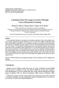 Learning Times for Large Lexicons Through ... - Wiley Online Library