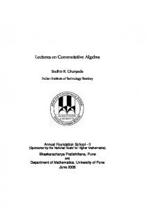 Lectures on Commutative Algebra