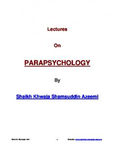 Lectures on Parapsychology - English Version (By Khawaja ...