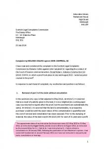 Letter to SLCC from Craig Murray 22 7 14 re Campbell QC changes ...