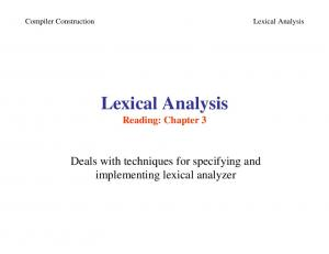 Lexical Analysis -