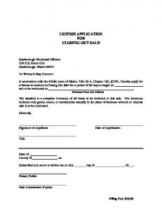 LICENSE APPLICATION