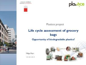Life cycle assessment of grocery bags