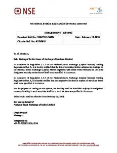 Listing of further issue of Aurionpro Solutions Limited - NSE