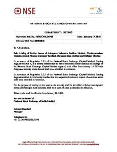Listing of further issues of Ashapura Intimates Fashion Limited ...