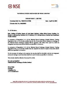 Listing of further issues of Axis Bank Limited, Aditya Birla Money ... - NSE