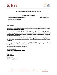 Listing of further issues of Bharat Financial Inclusion Limited ... - NSE
