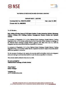 Listing of further issues of DCB Bank Limited, Grasim Industries ... - NSE