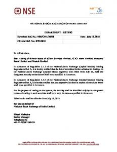 Listing of further issues of eClerx Services Limited, ICICI Bank ... - NSE