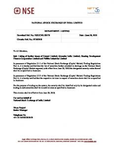 Listing of further issues of Emami Limited, Granules India ... - NSE