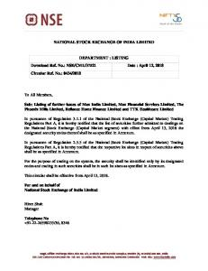 Listing of further issues of Max India Limited, Max Financial Services ...