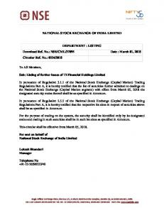 Listing of further issues of TI Financial Holdings Limited - NSE