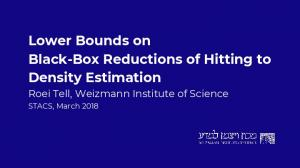 Lower Bounds on Black-Box Reductions of Hitting to ...