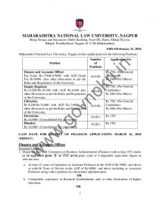 Maharashtra National Law University Recruitment 2018 Teaching ...